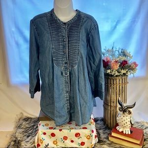 St Johns Bay Women's Tuxedo Shirt Jean XL Denim